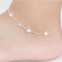 fashion Small Box plated Silver Jewelry Barefoot Sandals Leg Chaine women Foot Bracelet Cheville chain