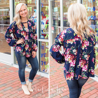 Navy Floral Doll Top