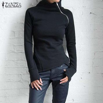 ZANZEA Women Sweatshirts 2018 Autumn Casual Hoodies Long Sleeve Turtleneck Black Pullovers Zippers Blusas Plus Size Tops