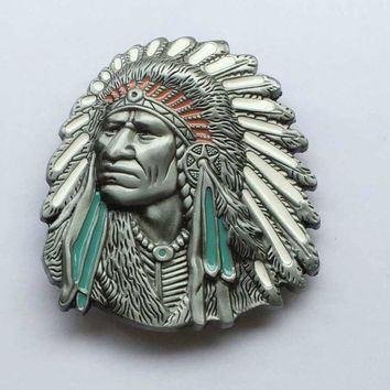Native American Indian Warrior Chief  Belt Buckle