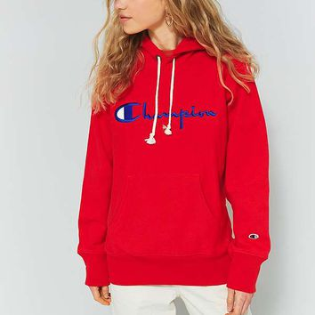 Champion Red Large Logo Hoodie | Urban Outfitters