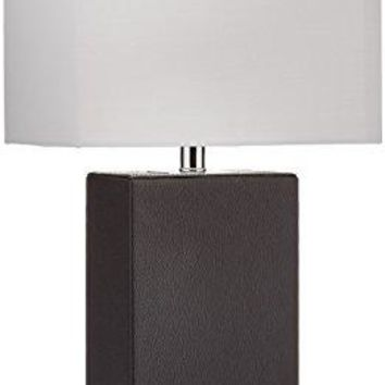 Elegant Designs Modern Genuine Leather Table Lamp, Black