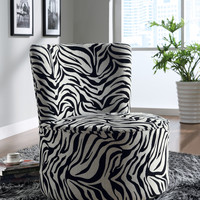 Zebra Lifestyle Fabric Accent Chair With Swivel Base
