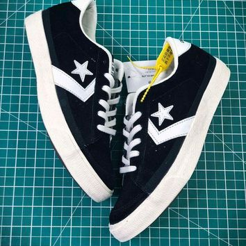 PEAP2Q Converse Canvas Chevronstar Ox Black White Shoes
