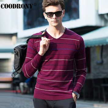 High Quality Soft Warm Merino Wool Sweater Men Brand Clothing Leisure Striped V-Neck Sweaters Knitted Cashmere Pullover Men 6319