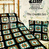 1960s Granny Square Cushion Cover and Bedspread-Vintage Crochet Pattern-Blanket-Cover-Throw-Pillow-Bedroom-Home Decor-Vintage Crafts PDF