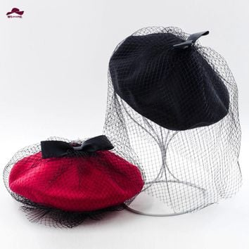 2015 New Hot Winter Bowknot Wool Womens Hat Berets Mesh Female Cap Handmade Fedoras Hats for Women French Artist Cap Ski Hats