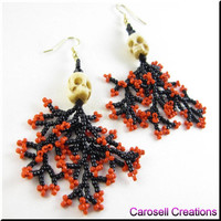 Halloween Skulls Seed Bead Earrings with Coral Dangles in Red