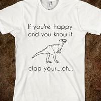 Supermarket: T-Rex Can't Clap His Hands T-Shirt from Glamfoxx Shirts