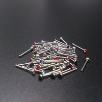 60Pcs Crystal Rhinestone Nose Piercing Bone Stud Stainless Surgical Steel Body Piercing Jewelry SM6