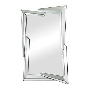 Juxtaposed Angles Beveled Edge Mirror Clear