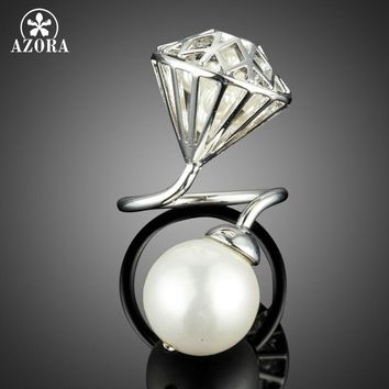 AZORA Big Imitation Pearl with Hollow Stone Net Filled with Tiny Pearls Adjustable Size Rings TR0168