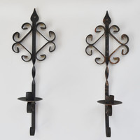 Spooky Halloween Candle Holders Wall Sconces Vintage Black Metal Wall Sconces Gothic Medieval Decor