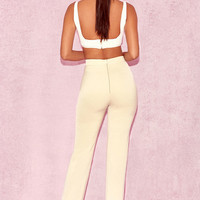 Clothing : Trousers : 'Kasira' Beige High Waist Trousers