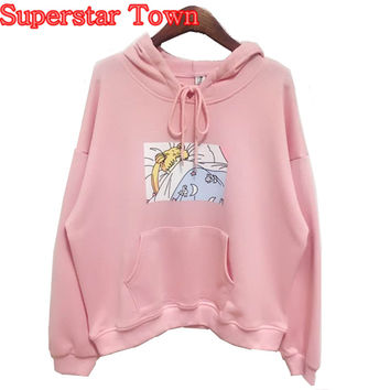 Hoody Sweatshirts Women Hoodies Japanese Sailor Moon Printed Pullover Kawaii Cute Mori Girl Novelty Harajuku Hooded Sweatshirt