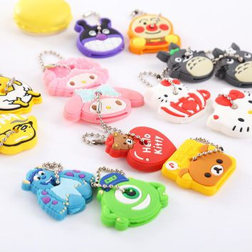 Zoeber 2pcs/set Cartoon Cute Key Cover Anime Hello Kitty Totoro Silicone KeyChains Funny Animal Key Holder Caps Key chain