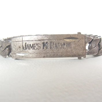 antique silver bracelet / mens sterling silver military id bracelet 1940s 1940 identification bracelet vintage sterling silver mans jewelry