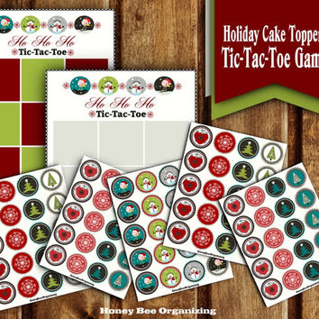Printable Tic-Tac-Toe Game + Holiday Party Circles - Christmas Cake Toppers / Danglers - Winter Printables - Baking Decoration Printables