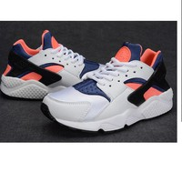 """NIKE""AIR Huarache Running Sport Casual Shoes Sneakers White-orange H"