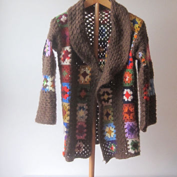 Vintage 1970s Granny Square Crochet Wool Sweater Hand Made Multi Color Free Size Jacket