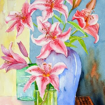 Stargazer Lilies Watercolor Painting