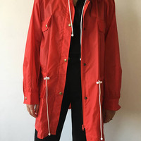 Vintage 90s red raincoat windbreaker jacket fall pockets adjustable waist raglan sleeves back to school minimalist color block classy casual