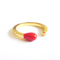 Matchstick Ring in Red and Gold. Adjustable Ring. Stackable Ring. Simple. Everyday Jewelry. Color Block.