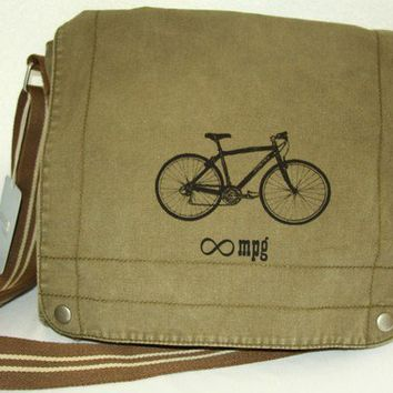 Canvas Messenger Bike Bag Infinite MPG by SpencerButteInk on Etsy