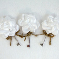 Rustic Key Boutonnieres White Satin Flowers Jute Twine Bow Set of 3 Vintage Rustic Barn Country Wedding