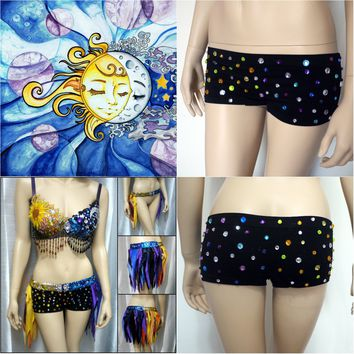 Sun and moon Rhinestone Boyshorts Booty Shorts Spandex Shorts