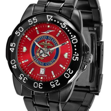 US Marines Mens Watch Fantom Gunmetal Finish Anochrome Red Dial