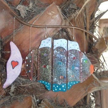 Wind Chime Pink tailed Fish handmade by dalit glass by dalitglass