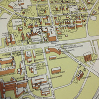 1980's Map University Circle Cleveland Ohio w/ Case Western Reserve Wade Oval and More