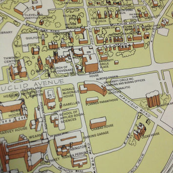 1980's Map University Circle Cleveland from Funky Finds Of on