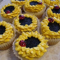 Sunflower cupcakes by abccupcakes on Cake Central