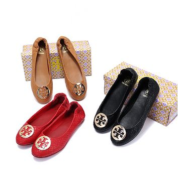 TORY BURCH Women Fashion Leather Flats Shoes