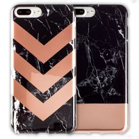 iPhone 7 2-Pack Marble Color Block Cases/ Black, Rose Gold
