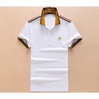 Versace 2018 summer new men's Polo shirt embroidery lapel short sleeve F-A00FS-GJ White