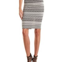 Textured Tribal Print Midi Skirt by Charlotte Russe