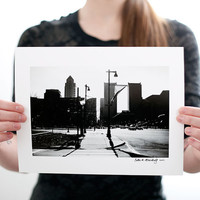 Sunny Philadelphia Streets and Skyline Photograph (9 X 6 Fine Art Print) Black & White City Photography, Skyline Print, Home Decor
