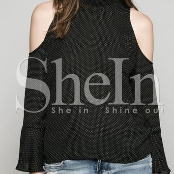 Black Embellished High Neck Cold Shoulder Blouse