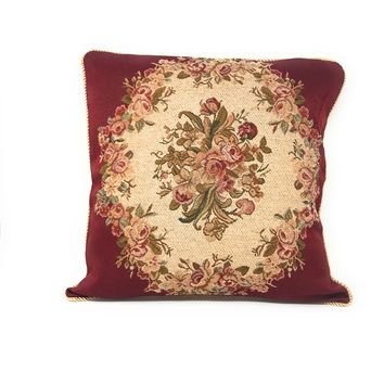 Tache 2 PC Chenille Woven Floral Holiday Red Rose Throw Pillows (DSC0022-2PCCC)