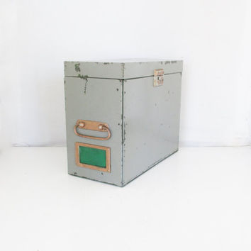 Metal Box Vintage Industrial Box Army Green Metal Box Portable File Cabinet Utility Box Globe-Wernicke Co. Industrial Storage Rusty