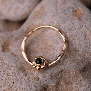 SEPTUM RING / Ear /Cartilage 16 Gauge 14K Gold filled with 2mm Black Onyx. Handcrafted