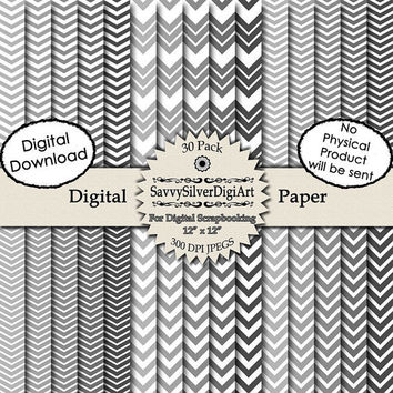 Gray Chevron Digital Paper - INSTANT DOWNLOAD, 35 Papers, Grey Zig Zag, Scrapbook, Invitations, Grey Gray Background Paper, Card Design DP1