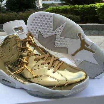 ONETOW Nike Air Jordan Retro 6 VI Pinnacle Gold AJ6 Men Sports Basketball Shoes