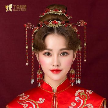 Chinese bride headdress costume red floral hairpin wedding  hairwear and earrings photography wedding hair accessories shihuai