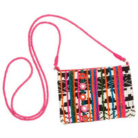 Crossbody Coin Purse with Mirror - Black Multi