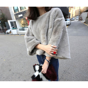 2016 O neck Flare Sleeve Long Hairy Shaggy Faux Fur Pullovers Coat New Women Autumn Winter Loose Outerwear Gray Black