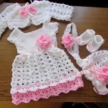 Baby dress hat shoes bolero headband pattern- 5 patterns in 5 sizes, diy baby set pattern